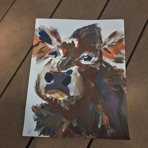 Original Artwork Abstract Acrylic Cow Painting
